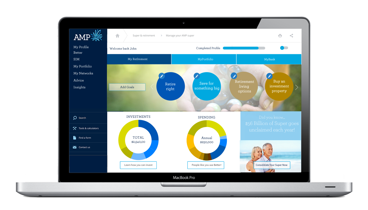 Dashboard for financial services